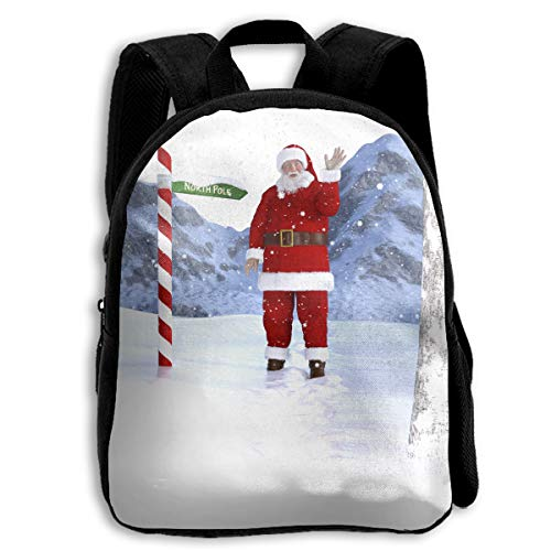 Liumong Funny Christmas Santa Claus Waving at The North Pole Children Multi-Function Mini Casual Outdoor Travel Book Middle School Backpack 13 Laptop Computer Bag Pocket ()