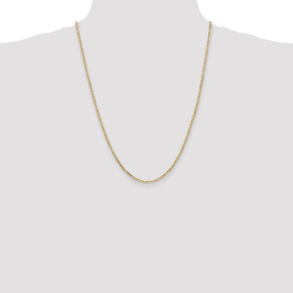 14k Gold Solid Figaro Chain Necklace with Lobster Clasp 2.1mm