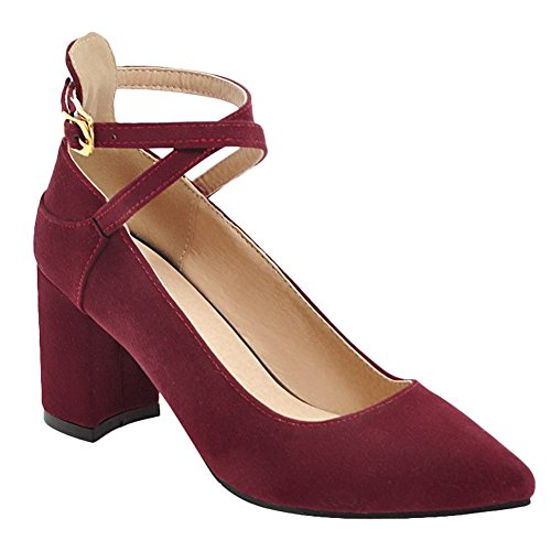 Red Deep High Heels Toe Buckle Shoes Womens Pointed Dress Wrap Ankle Carolbar WOqvPwnH