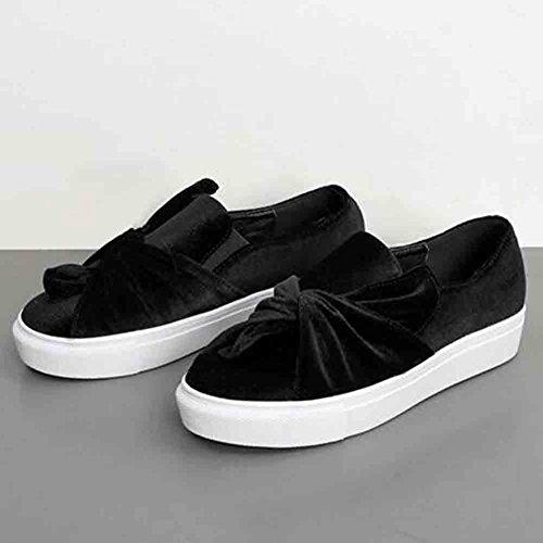 Easemax Mujeres Trendy Plisada Plataforma Redonda Dedo Del Pie Low Wedge Heel Sneakers Black