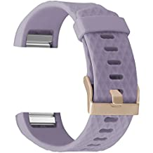 For Fitbit Charge 2 Band Accessory, UMAXGET Sport Silicone Replacement Wristband with Rose Gold Buckle for Women Men Small Large