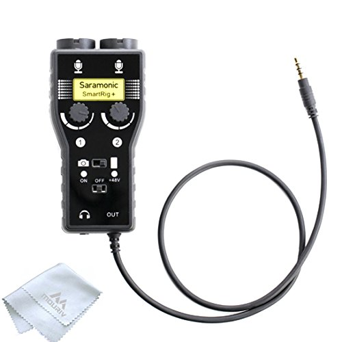 Saramonic SmartRig+ 2-Channel XLR/3.5mm Microphone Audio Mixer with Phantom Power Preamp & Guitar Interface for DSLR Cameras, Camcorders, iPhone, iPad, iPod, PC,and Android Smartphones, (Preamp Mic Power Phantom)