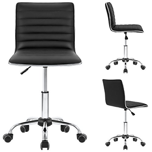Homall Swivel Task Chair Desk Chair, Leather Vanity Computer Office Chair Rolling Adjustable Conference Chair Ribbed and Armless Chair Makeup Chair with Back Support Black