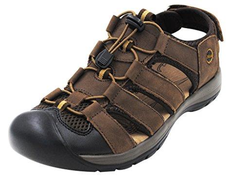 iLoveSIA Men's Leather Walking Sandals Coffee US Size 8
