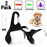 Dog Collar Light with USB Rechargeable,Derlights® Fashion Light up Dog Collar Light, Led Safety Emergency Light for Running, Walking, Kids, Pet, Camping or Bike, Weather Resistant, 2 Pack