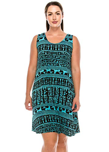 Jostar Women's Stretchy Missy Tank Dress Print Small Teal Abstract ()