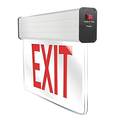((40% Clearance) eTopLighting LED Exit Sign Red Letters Double Face Clear Body Emergency Light,APLIQ201)