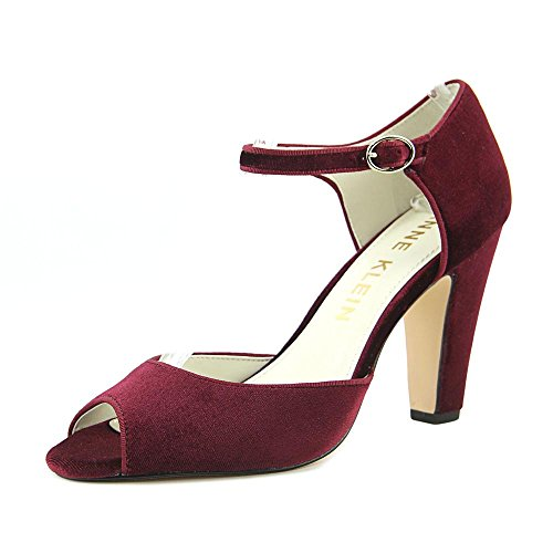 Leather Peep Toe Mary Janes (Anne Klein Womens henrika Leather Peep Toe Ankle Strap, Wine/Wine, Size 7.5)