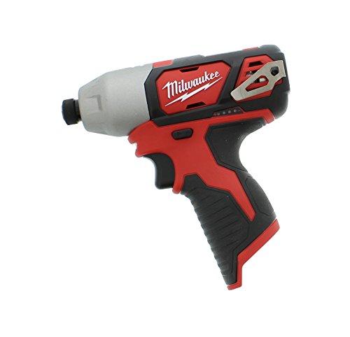 Milwaukee Impact Drill - Milwaukee 2462-20 M12 1/4 Inch Hex Shank 12 Volt Lithium Ion Cordless 2,500 RPM 1,000 Inch Pounds Impact Driver w/ LED Light and Fuel Gauge (Battery Not Included, Power Tool Only)