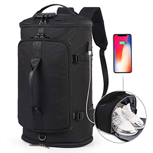 Travel Duffel Backpack with Shoe Compartment,Weekender Overnight Convertible Bag for Men,Anti Theft Waterproof College Bookbag Daypack w/USB Charging Port,Black from ZOESHOP