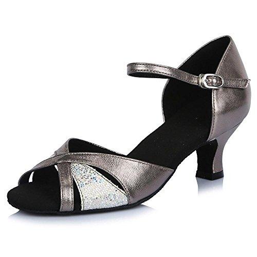 YFF Chica mujer s señoras Ballroom América Tango parte zapatos de baile gray 5cm