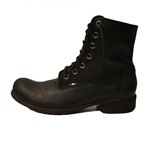 PeppeShoes Modello Castelfranco Veneto - Handgemachtes Italienisch Leder Herren Schwarz Hohe Stiefel - Rindsleder Weiches Leder - Schnüren