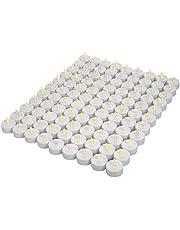 OSHINE 100LED-kaarsen, LED-vlamloze thealights, flikkeren theelichtjes, batterijen CR2032 [batterijen inbegrepen]