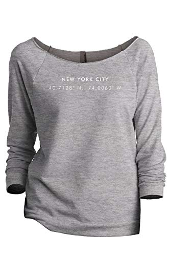 (New York Coordinates Women's Fashion Slouchy 3/4 Sleeves Raglan Sweatshirt Sport Grey Large)