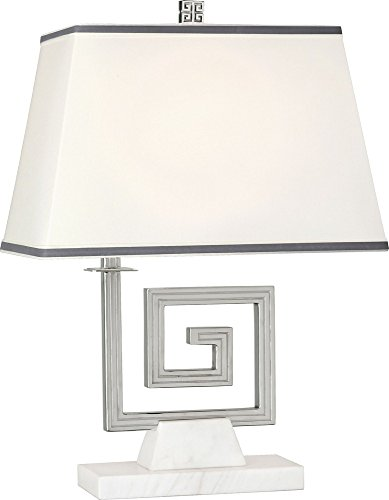 Robert Abbey S440 Jonathan Adler Mykonos - One Light Table Lamp, Polished Nickel/White Marble Finish with Rectangular Fondine Fabric/Smoke Gray - Robert Abbey Rectangular Lamp Table