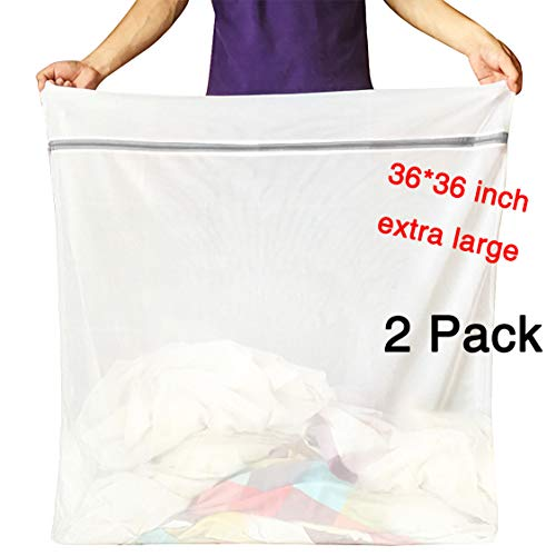 2 Different Mesh Extra Large Laundry Bag Delicates Wash Bags Camp Travel Heavy Duty Zipper Big Net Bags Washing Sweater Curtain Bedding Robes Blanket Jumbo Toys Organizer [36 x 36 inches, 2 Pack]