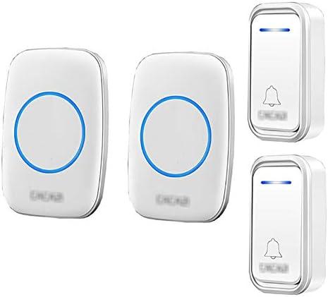 コードレスプラグインドアベル、長距離防水スマートドアベル、38トーン1000フィートレンジ3ボリュームレベル(2プッシュボタン&2レシーバー),2