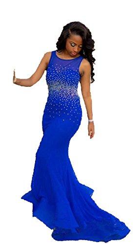 Abito reale Donna ad linea Senza da maniche sposa Mall Blu a Bridal 56wOqPHz