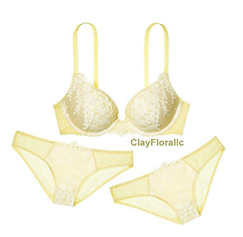 Angels Thongs (New 34B Ice Angel Victoria's Secret Fashion Show Push up Crystal Lace Bra Set (bra, thong, garter))
