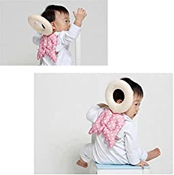 Baby Toddler Head Protect Pillow Pad Head Protective Headrest Pillow Infant Neck Cute Wings Nursing Drop Resistance Cushion(Pink)