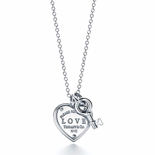 No.1 Silver Love Heart Tag Key Pendant - Key Co Tiffany &