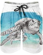 Ktewqmp Zomerzwembroek voor heren, grote en kleine zeeschildpad, zwembroek voor heren, zwemshorts met zakken, outdoor