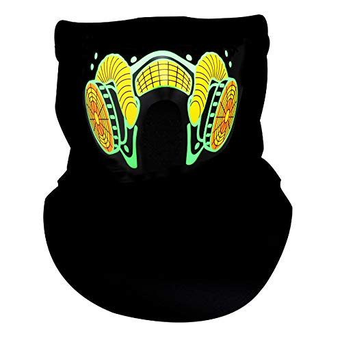 Sound Activated LED Light Up Mask,Halloween DJ Music LED Party Mask Green