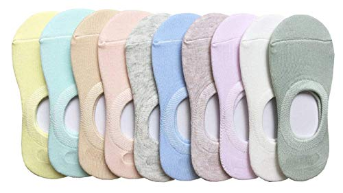 CHUNG Little Boys Girls Thin Half-Mesh Low Cut White Socks Summer 10 Pack 2-6Y (4-6 Years, Solid - Low Cut Girls Sport Sock
