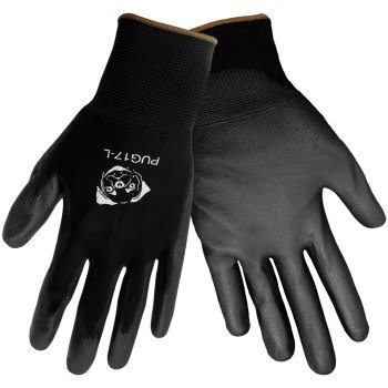 Global Glove PUG17 Gloves Black Nylon, Black Polyurethane Coated Palm. Medium. 12 Pair/Pkg