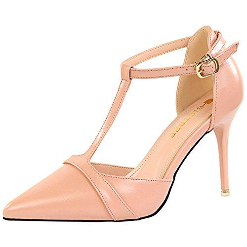 Azbro Mujer Zapatos de Estilete Bomba de Tacón Alto T-correa Puntera Punta Rosa