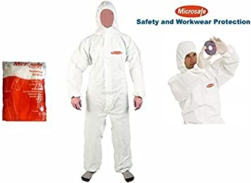 Blanc S/écurit/é Protection V/êtements Combinaison jetable V/êtements Anti-poussi/ère V/êtements disolation V/êtement Combinaison One-Pieces Nonwovens FRjasnyfall