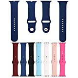 Silicone Apple Watch Band-Soft Silicone Sport Strap Replacement Bands for iWatch Apple Watch Series 3, Series 2, Series 1 S/M M/L 42mm and 38mm (Navy blue, 38mm S/M)