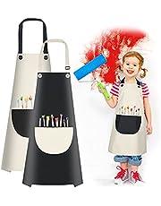 Vicloon Fartuch kucharski dla dzieci, 2 sztuk wodoszczelny fartuch,regulowany fartuch malarski dla dzieci chłopców i dziewczynek, do malowania, pieczenia, gotowania, 7-13 lat(czarno-biały)