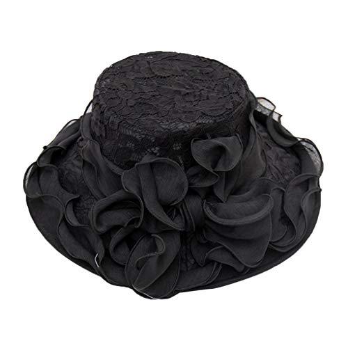 (QBQCBB Womens Ladies Church Wide Brim Tea Party Wedding Hat Fancy Derby Fascinator Cap(Black))
