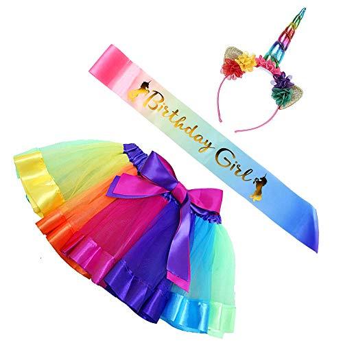 Maticr Kids Rainbow Tulle Tutu Bow Tie Skirt & Unicorn Flower Headband Girls Costume Kit (Rainbow, Medium)]()