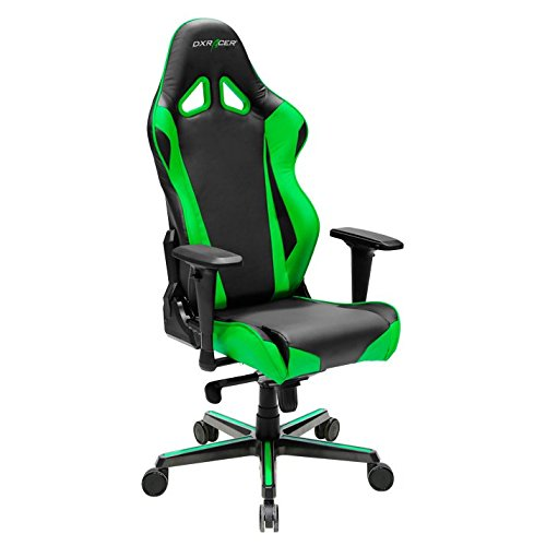 41KJuvs5TLL - DXRacer OH/RV001/NE Racing Series Black and Green Gaming Chair - Includes 2 free cushions