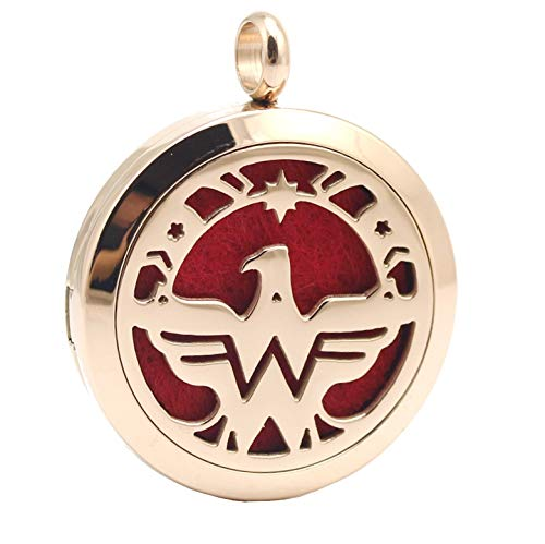 (Wonder Woman Aromatherapy Power Necklace, USA Eagle Freedom Pendant, Chenier Design Rose Gold Gift Jewelry)