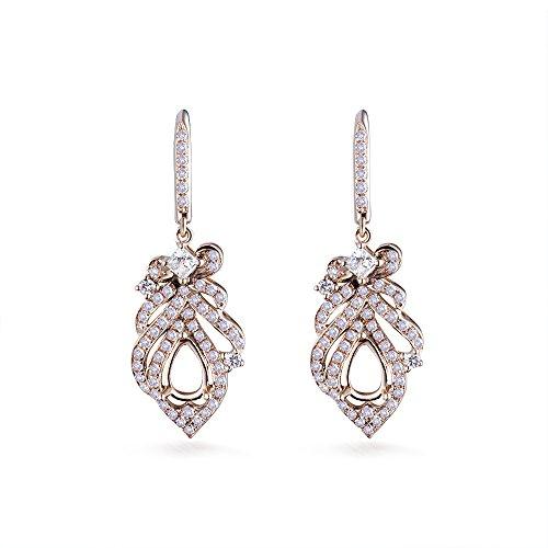 (14K Rose Gold Women's Bridal Pear 4X6mm Round Natural Diamond Semi Mount Ring Set)