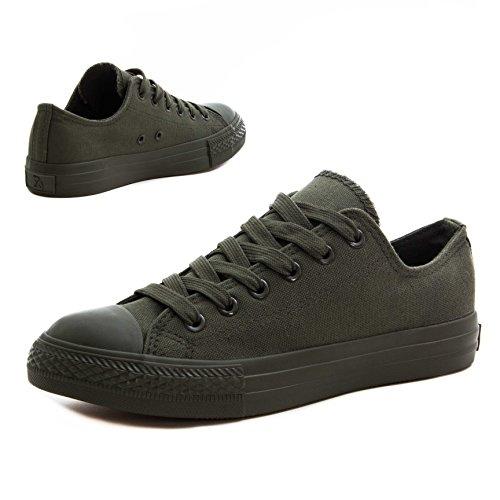 Klassische Unisex Damen Herren Schuhe Low High Top Sneaker Turnschuhe Dk. Grün 41