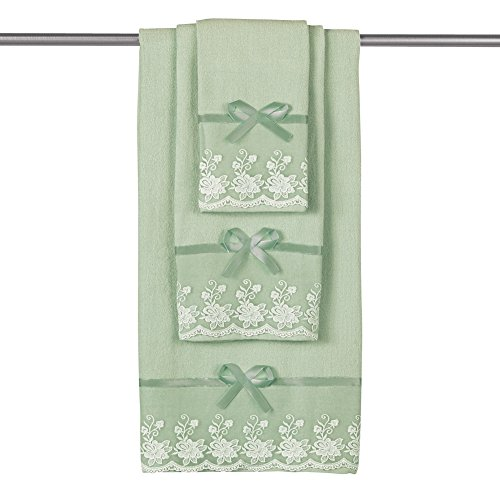 Collections Etc Lace Trim Decorative Display Towel Set with Ribbon Bows, 3-Piece Set with Bath Towel, Hand Towel & Washcloth, Sage ()