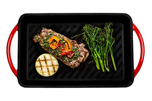 Enameled Cast-Iron Rectangular Grill Pan, Loop Handles, Fire Red, 9.5'' x 13.5'' by Bruntmor (Image #1)