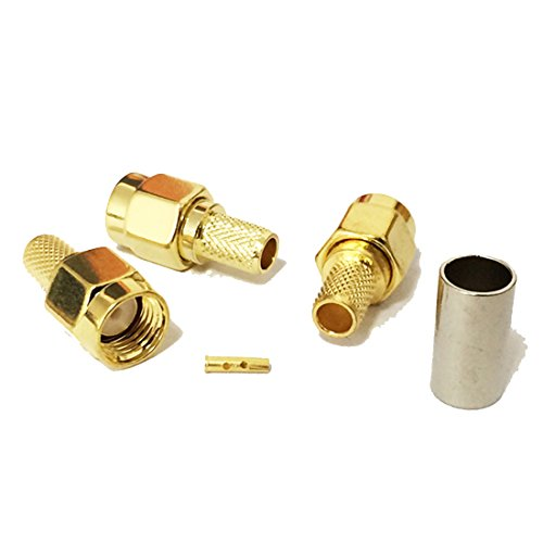 (10pcs RP SMA Male Plug RF coaxial Connector Crimp for RG58 Straight goldplated New USA)