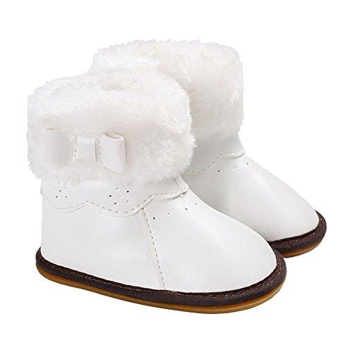 Baby Girls Winter Snow Boots Bowknot Prewalker (White) - 6