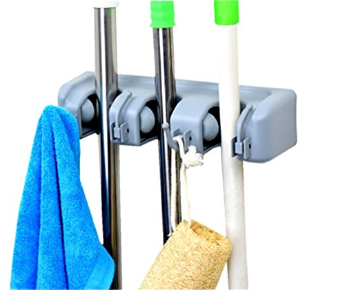 4 position 5 hooks . 4 position with 5 hooks garage storage Holds up to 9 Tools,Effortless Installation DGBC Wall Mounted Mop and Broom Holder Screws Included