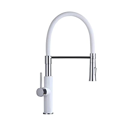 Lovedima Modern Sleek White Pull Out Kitchen Faucet Solid Brass Single  Handle Kitchen Sink Faucet with Pull Down Sprayer