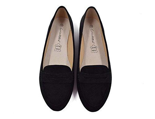 Greatonu Frauen Faux Wildleder Komfort Slip-On Penny Loafer flache Schuhe Schwarz