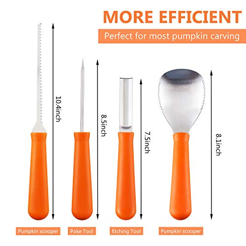 Pumpkin Carving Kit, 4 Pieces Heavy Duty Stainless Steel Pumpkin Carving Tools with 10 Carving Stencils, Ergonomic Design, Perfect for Adult and Children Halloween Decoration by Fantech (Image #1)