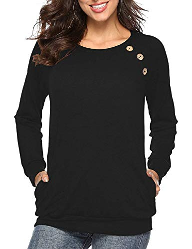 NEWCOSPLAY Women Round Neck Tops Long Sleeve Button Casual Blouses T-Shirt with Pocket (M, 0022black)