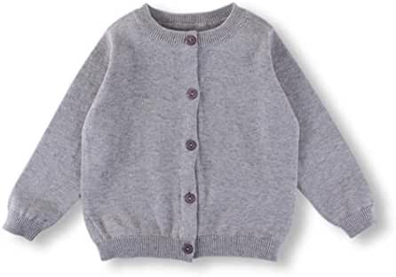 HAOERWU Unisex baby Solid color Spring cotton cardigan sweater cute all-match