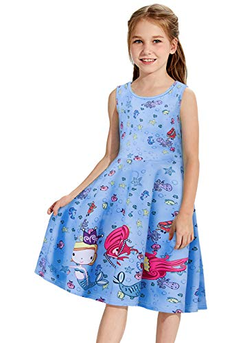 Mermaid Dress for Girls 3D Printing Beautiful Blue Mermaid Shirt Size 13 Summer Short Sleeve Tank Swing Dress Lovely Bubble Seahorse Costume Octopus Fish Animal Twirly Teen Shorts for Princess -
